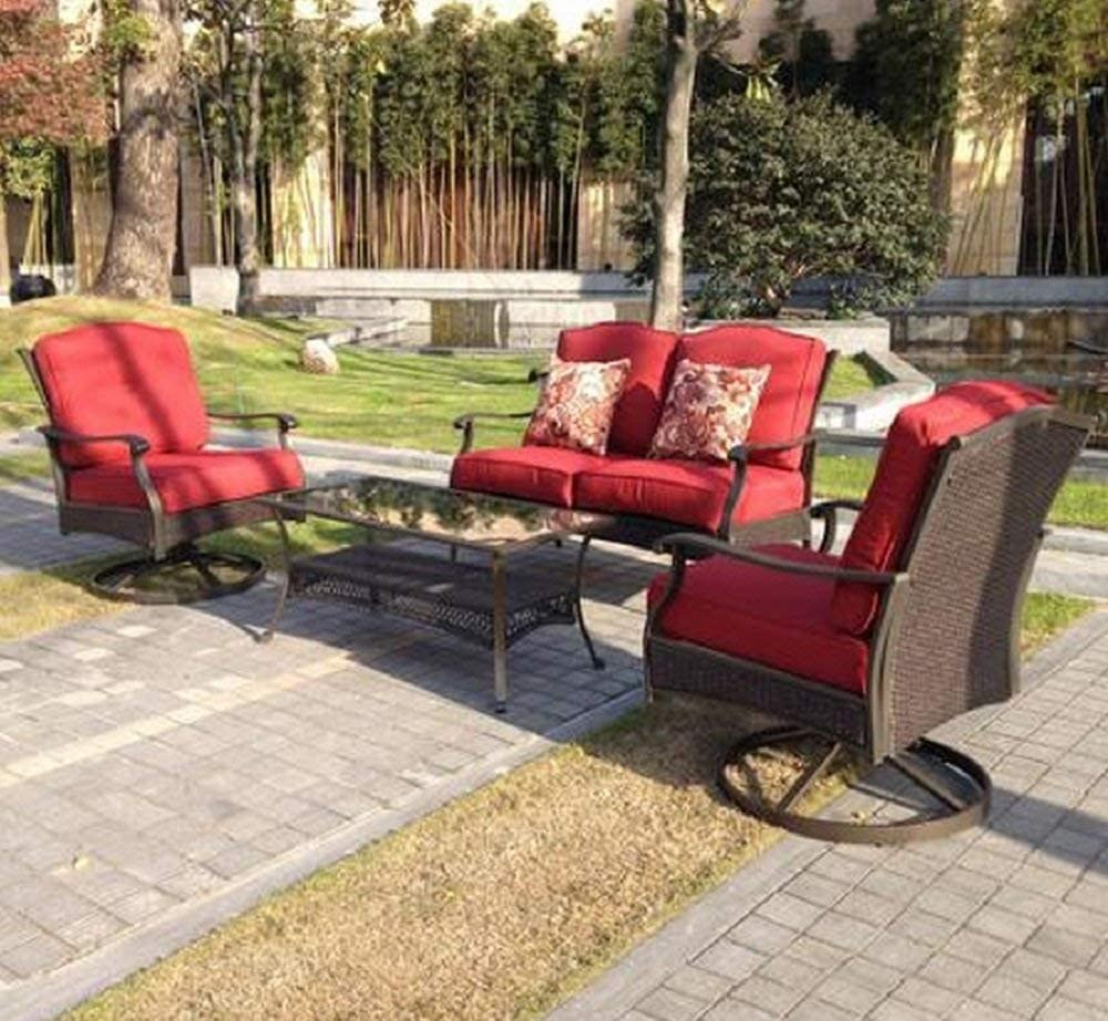 better homes and gardens powder coated steel with cushions providence 4 piece patio conversation set seats for 4 and tempered smoked glass