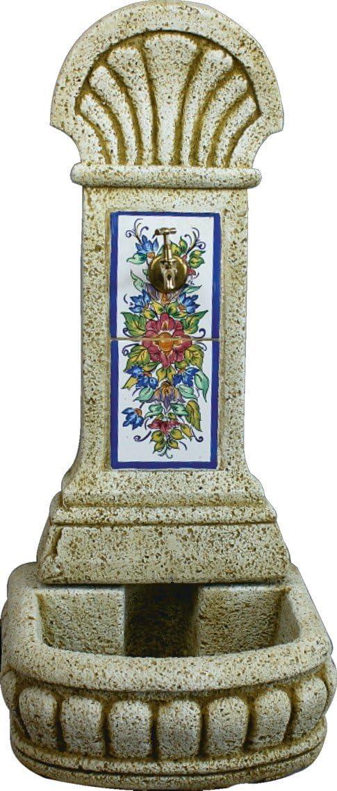 DEGARDEN AnaParra Fuente de Pared Azulejos para Jardín o Exterior de hormigón-Piedra Artificial | Fuente de Agua de hormigón-Piedra 44 x36 x98cm. | Fuente de Pilón Exterior con Grifo, Color Ocre