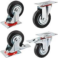 Forever Speed 4 x 75 mm transportwielen, industriële zware zwenkwielen, meubelwielen en zwenkwielen met rem…