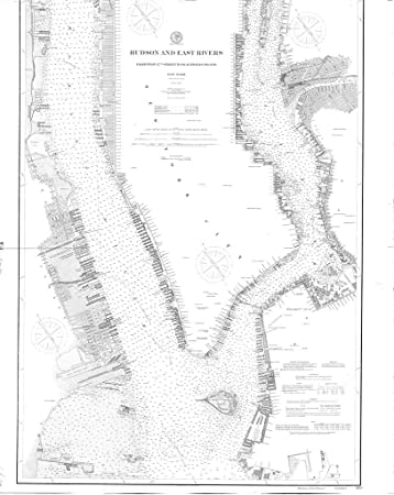 8 x 12 inch 1900 new york old nautical map drawing chart of hudson and east