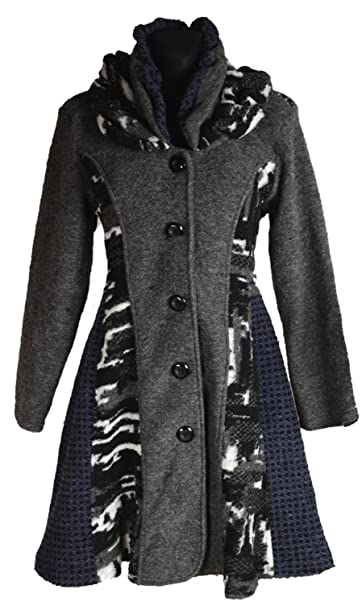 Damen Patchwork Wolle Lagenlook Wintermantel Mantel Swinger