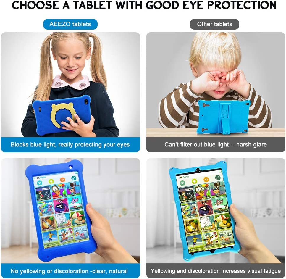 AEEZO Kids Tablet 7 Inch WiFi Android 10 Tablet PC 2020 New FHD 1920x1200 IPS Screen, 2GB RAM 32GB ROM, Parental Control, Kidoz Installed, Eye Protection Anti Blue Light Screen Prime (Blue)
