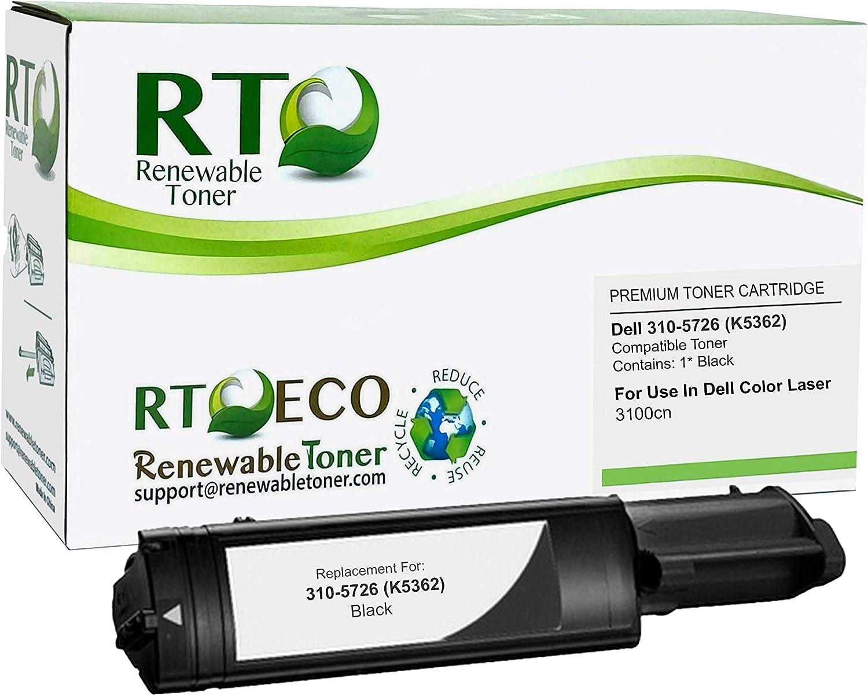 Renewable Toner Compatible Cartridge Replacement Dell 310-5726 K4971 Color Laser 3000 3000cn 3100 3100cn (Black)