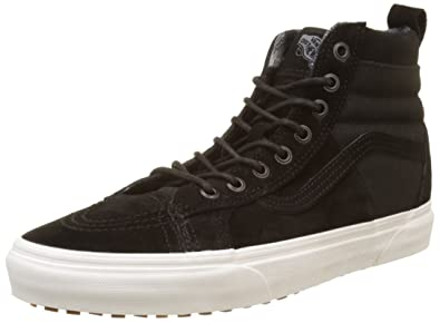 305147eded Vans Sk8-Hi Slim Zip Sneakers (Plaid Flannel) Black True White Womens
