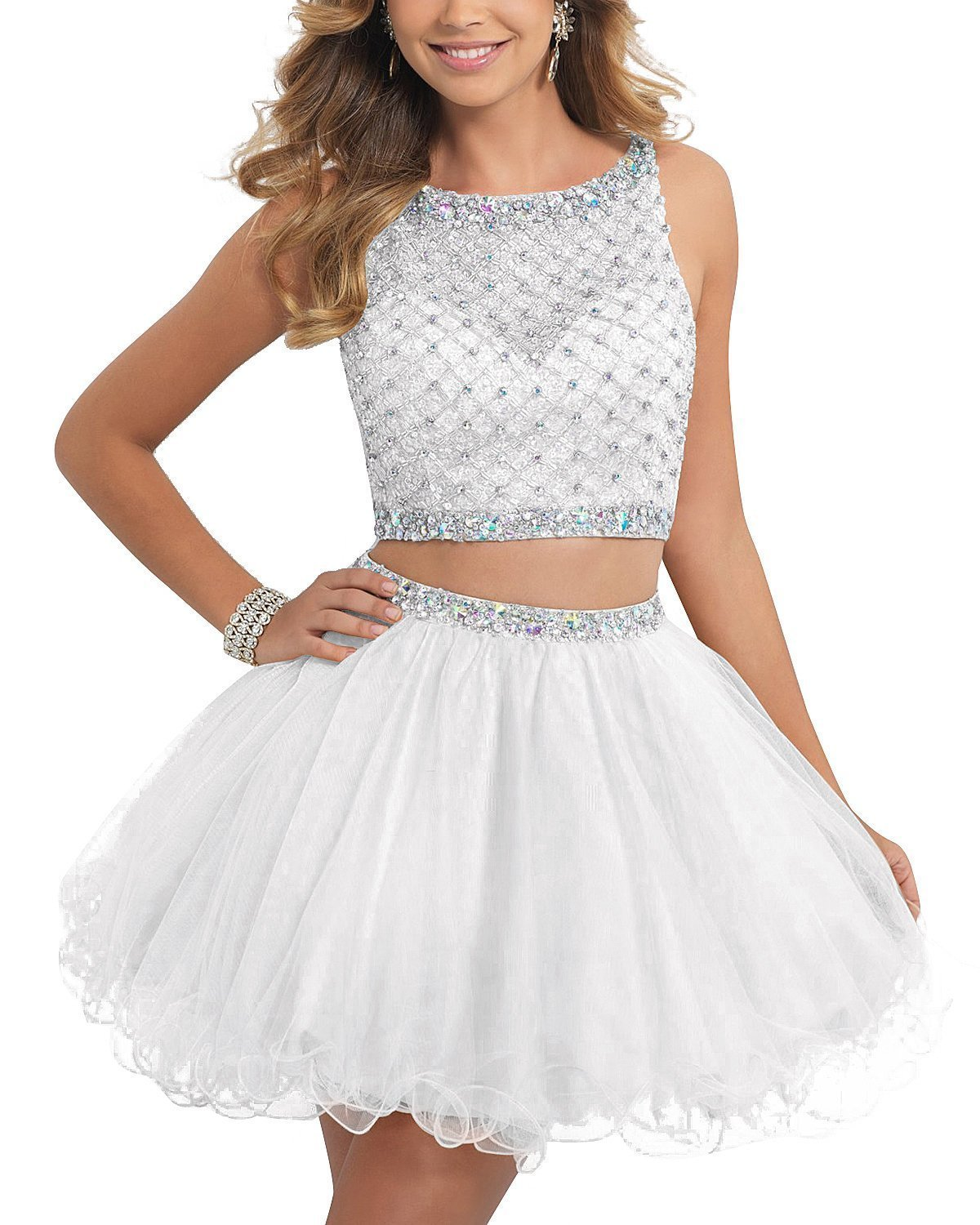 TANGFUTI Two Piece Homecoming Dresses Short Beaded Tulle Formal Prom Gowns 010 White US16