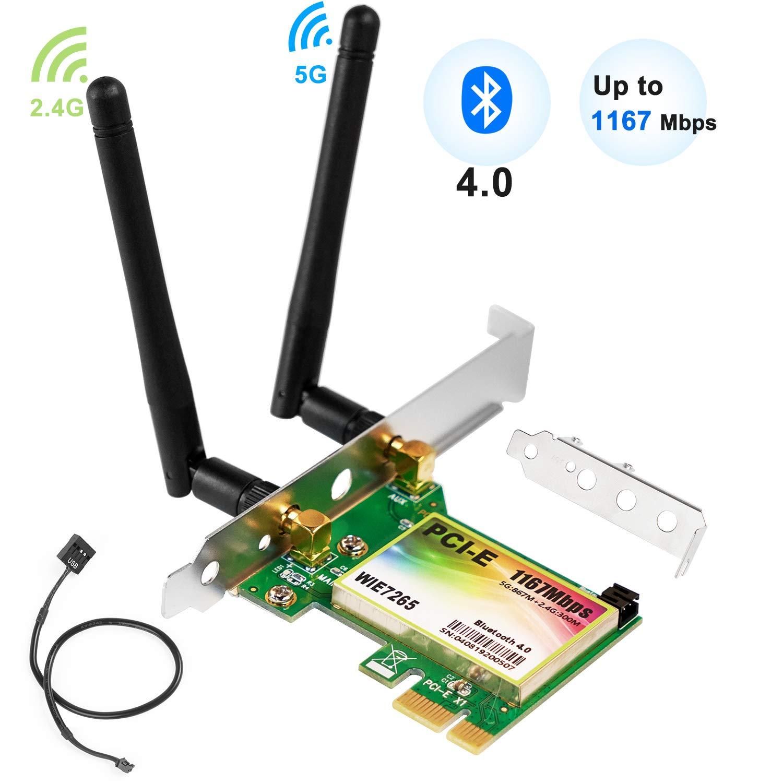 Tarjeta WiFi PCIe QNINE de 1200Mbps con Bluetooth, adaptador inalámbrico WLAN Bluetooth 4.0 de banda dual de 2.4GHz y 5G