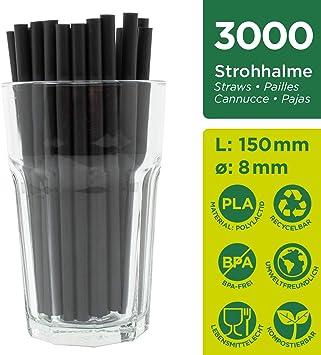 ChooseEco - Pajitas de plástico orgánico de PLA, 150 mm o 250 mm ...