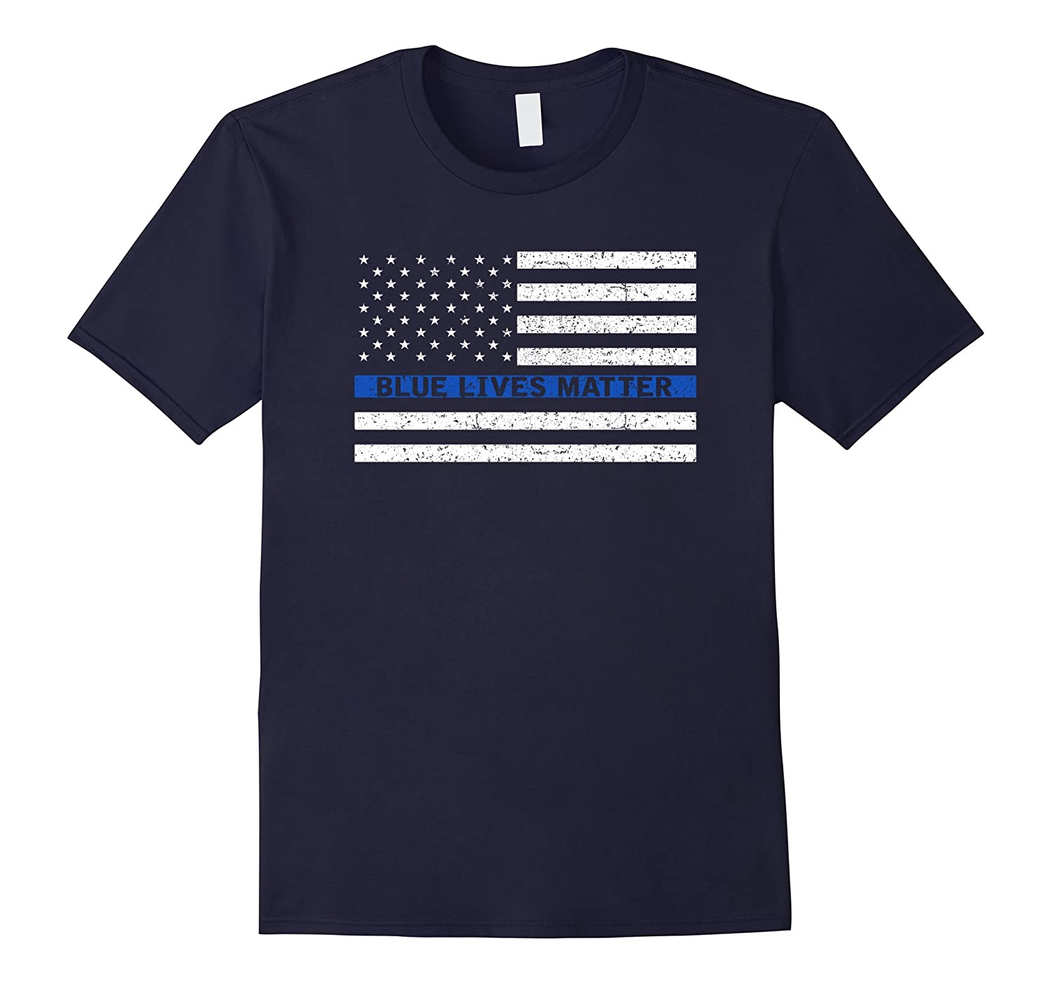 Blue Lives Matter T-Shirt Thin Blue Line Flag T Shirt-RT