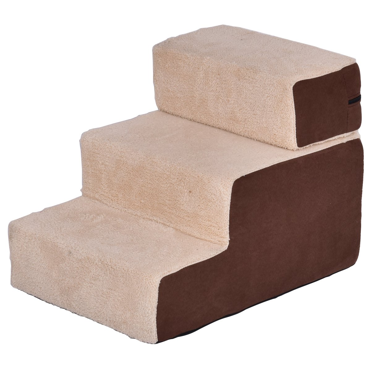 Giantex Portable Pet Stairs 3 Step Soft Step Ramp Home Décor For Dog & Cat Cotton Brown