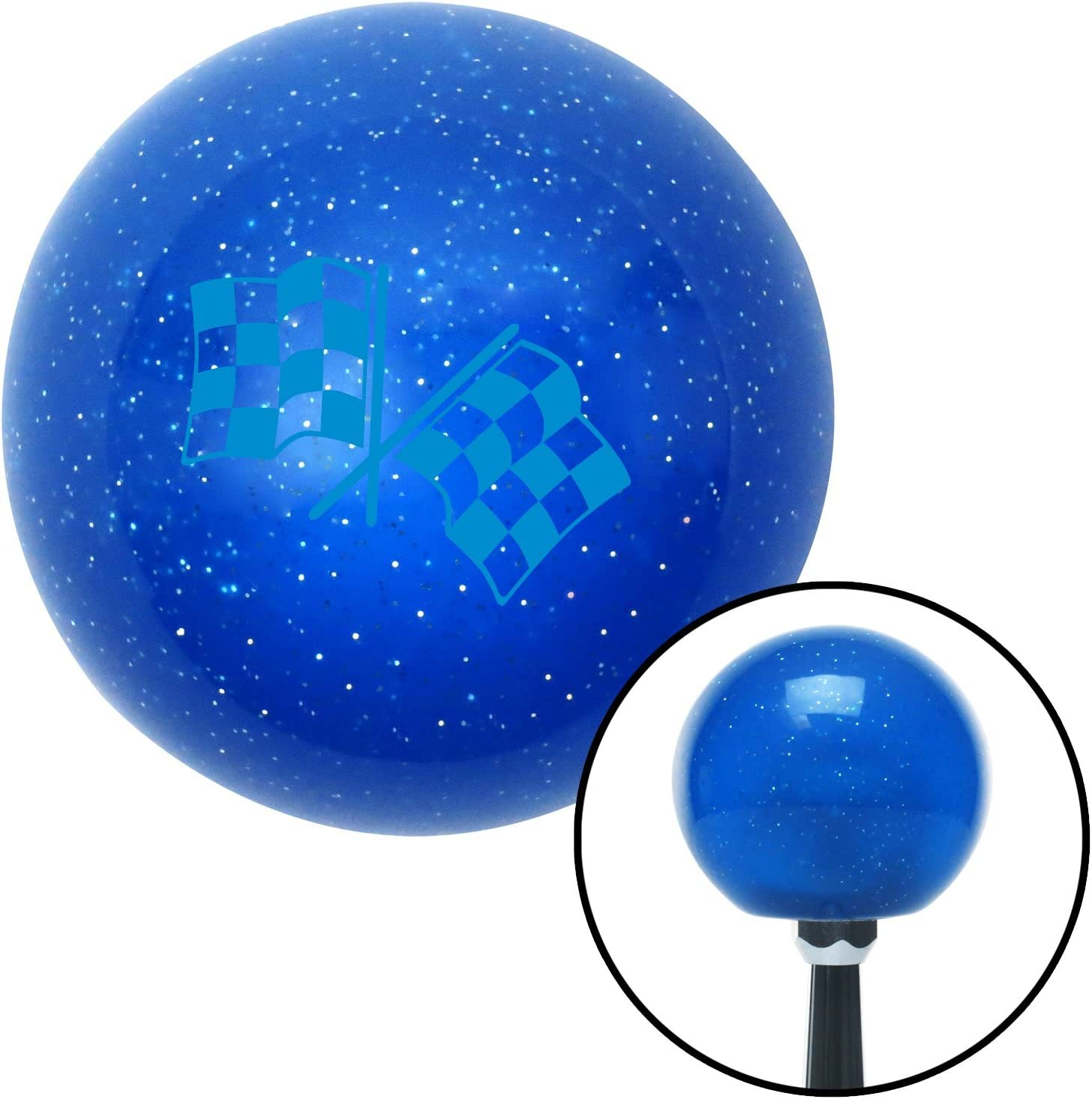 Blue Checkered Flags American Shifter 25205 Blue Metal Flake Shift Knob