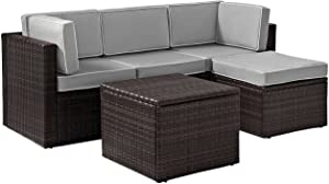 Crosley Furniture KO70011BR-GY Palm Harbor Outdoor Wicker 5-Piece Sectional Seating Set, Brown with Gray Cushions