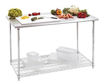 tavolo da lavoro per cucina 120x60 h88-90 cm capacità 250 kg ... - Banco Da Lavoro Cucina