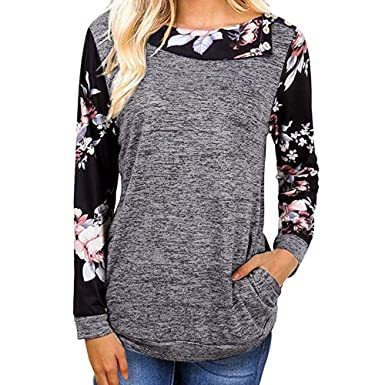 921b9d33a98 Goddessvan Women Floral Printed V-Neck Long Sleeve T Shirt Casual Blouse  Tops (S