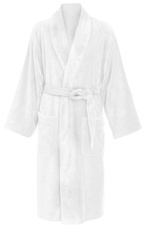 f3619c8681 Leisureland Men s Plush Coral Fleece Bathrobe Robes Black 50 at Amazon Men s  Clothing store