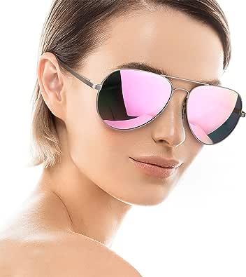 SODQW Aviator Sunglasses for Women Men Polarized Mirrored, Large Metal Frame, UV 400 Protection