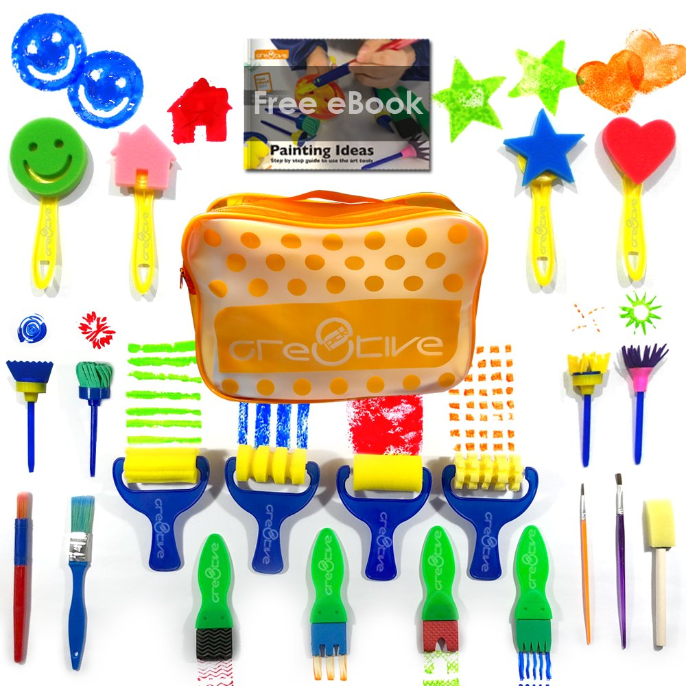 Cre8tivePick kids art & craft 21 pieces of fun painting drawing tools for kids. E-book guide step by step on how to use. Early learning kids painting set, sponge brush, flower pattern brush, Brush set 4336960698