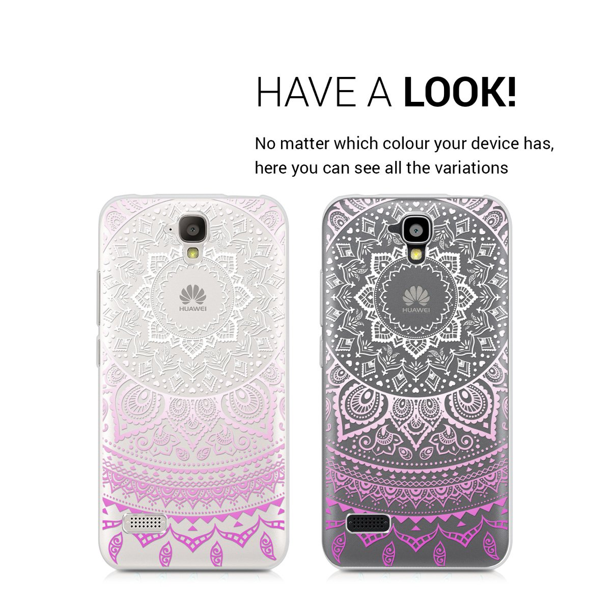 kwmobile TPU Silicone Case for Huawei Y5 - Crystal Clear Smartphone Back Case Protective Cover - Violet/White/Transparent