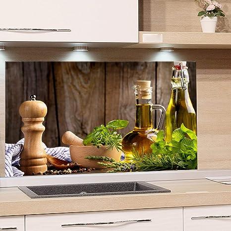 GRAZDesign Spritzschutz Glas für Küche Herd, Bild-Motiv grün Kräuter  Provinz mediterran, Küchenrückwand Glas Küchenspiegel Glasrückwand / 60x60cm