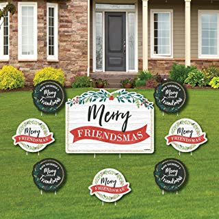 product image for Big Dot of Happiness Rustic Merry Friendsmas - Yard Sign and Outdoor Lawn Decorations - Friends Christmas Party Yard Signs - Set of 8