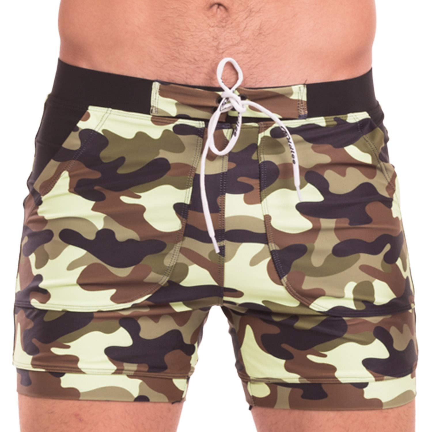 dbbb30f0c520e Taddlee Swimwear Men Basic Long Swimming Trunk Surf Camo Shorts Swimsuits  Pocket (M,Green)