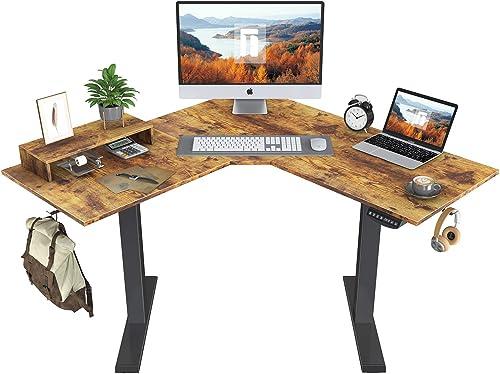 Best home office desk: FEZIBO L-Shaped Electric Standing Desk