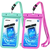 Mpow Universal Waterproof Case, IPX8 Waterproof Phone Pouch Dry Bag for iPhone X/8/8plus/7/7plus/6s/6/6s plus Samsung galaxy s8/s7 Google Pixel HTC10 (Blue,Rose Red 2-Pack)