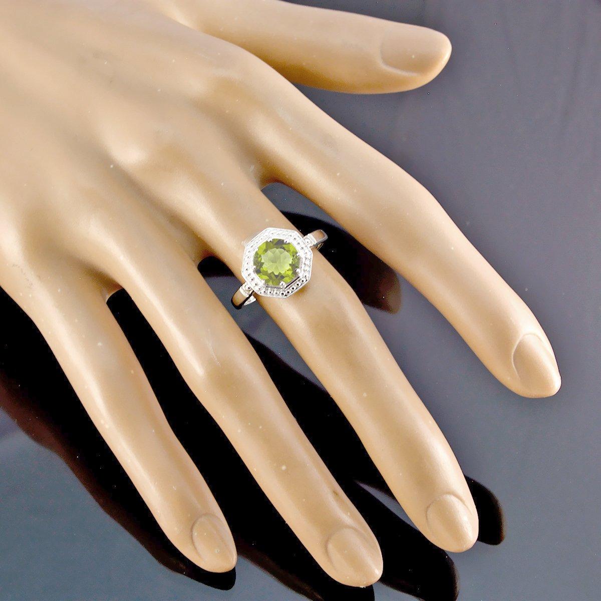 piedras preciosas redondas anillo de peridoto facetado redondo - peridoto verde plata macizo anillo de piedras preciosas bueno - joyas hechas a mano tiendas ...