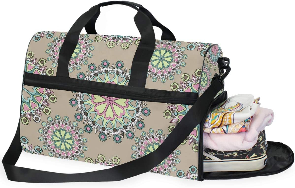 Color Mandala Floral Sports Gym Bag with Shoes Compartment Travel Duffel Bag for Men Women