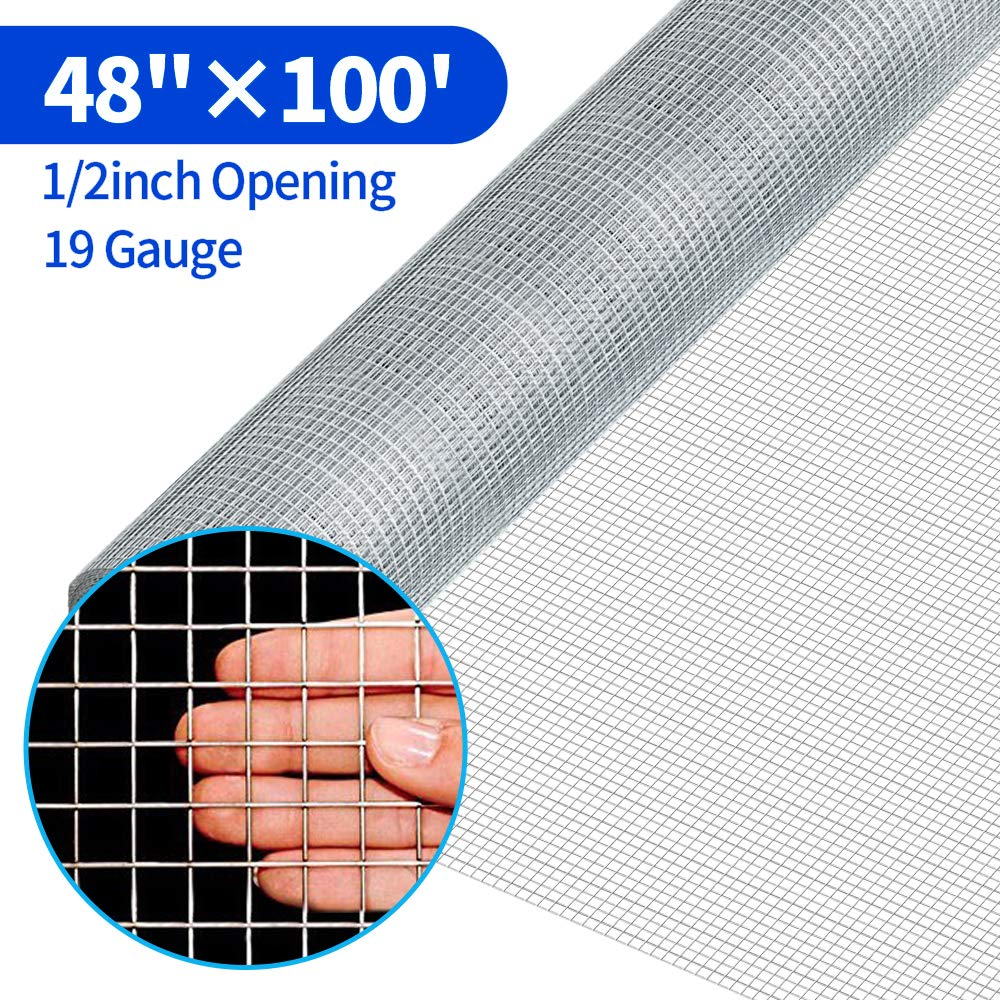 48x100 1/2Inch Hardware Cloth Galvanized Welded Cage Wire 19 Gauge Fence Mesh Roll Garden Plant Supports Poultry Netting Square Chicken Wire Snake Fencing Gopher Fence Racoons Rabbit Pen Gutter by Amagabeli Garden Home