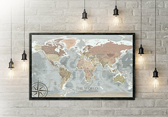 Amazon world map wall art framed push pin ready silver and world map wall art framed push pin ready silver and copper colors a gumiabroncs Choice Image