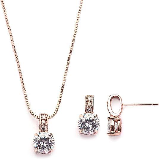 rose gold jewelry rose gold Kensley Rose Gold Necklace CZ Wedding Necklace Rose Gold Pendant wedding jewelry necklace pendant