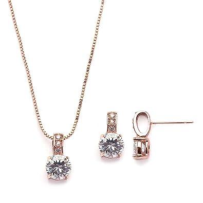 125de533d30c Amazon.com  Mariell Rose Gold Round-Cut Cubic Zirconia Necklace Earrings Set  for Brides