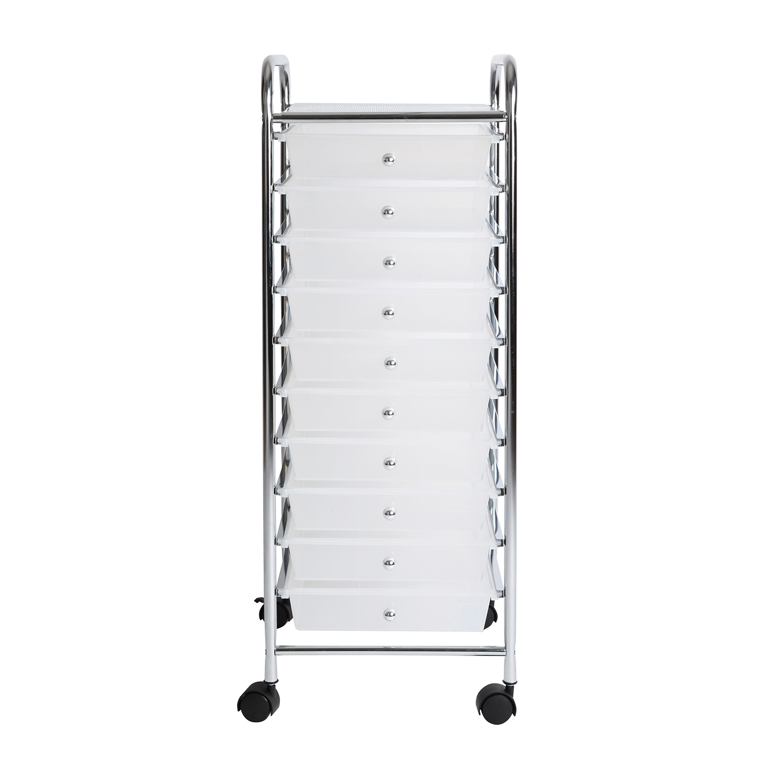 Finnhomy 10 Drawer Rolling Cart, Storage Rolling Carts with Semi-Transparent White Drawers, Organizer Cart for School, Office, Home, Beauty Salon,Utility Cart with Wheels