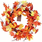 Hanizi Fall Wreaths with Maple Leafs Mini Pumpkins Berries and 10 LED Lights for Front Door Table Wall, Thanksgiving…