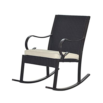 Stupendous Great Deal Furniture 304344 Muriel Outdoor Wicker Rocking Chair With Cushion Dark Brown And Cream Machost Co Dining Chair Design Ideas Machostcouk