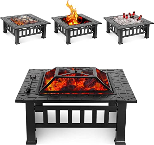 HEMBOR 32 Outdoor Fire Pit Table, Multi-Purpose Square Fireplace, Backyard Patio Garden Outside Wood Burning Heater, BBQ, Ice Pit, with BBQ Frames Waterproof Cover, Suitable for Party, Picnic, Camp