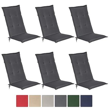 Beautissu Loft HL - Set de 6 Cojines para sillas tumbonas mecedoras de balcón o Asiento Exterior con Respaldo Alto - 120x50x6 cm - Placas compactas ...