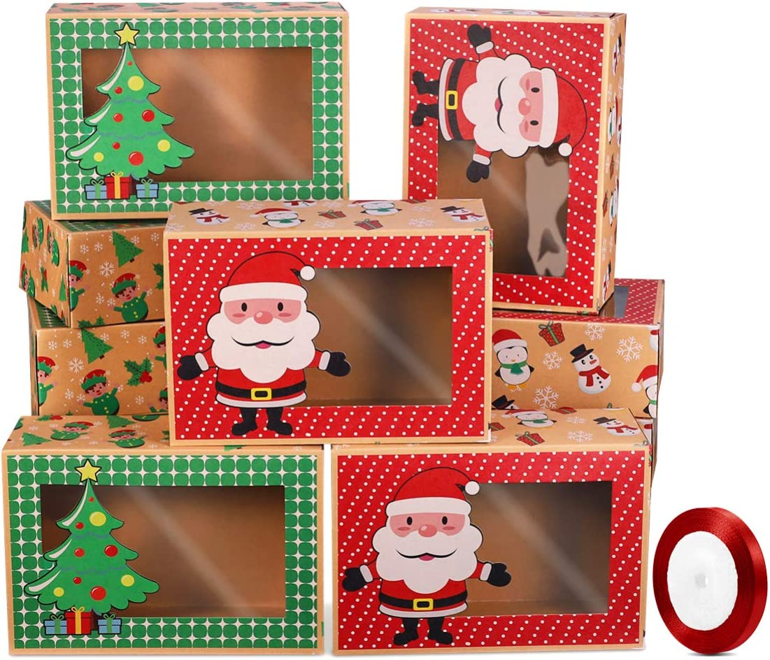 UPKOCH Christmas Cookie Boxes Kraft Paper Candy Bag Holiday Food Bakery Treat Boxes Containers Tins with Window 1pc Ribbon for Gift Giving Packaging 12Pcs