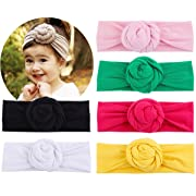 Baby Top Hat Cotton Head Wrap Elastic Headbands Turban Knot Hairband Headwear Set Of 6 (set of 6)