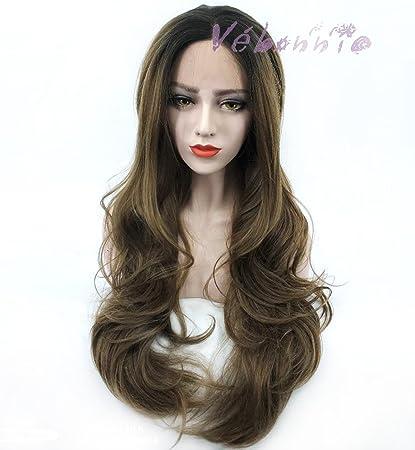 vébonnie marrón pelucas de encaje UK Ombre negro pelo raíces de fresno frontal de encaje marrón