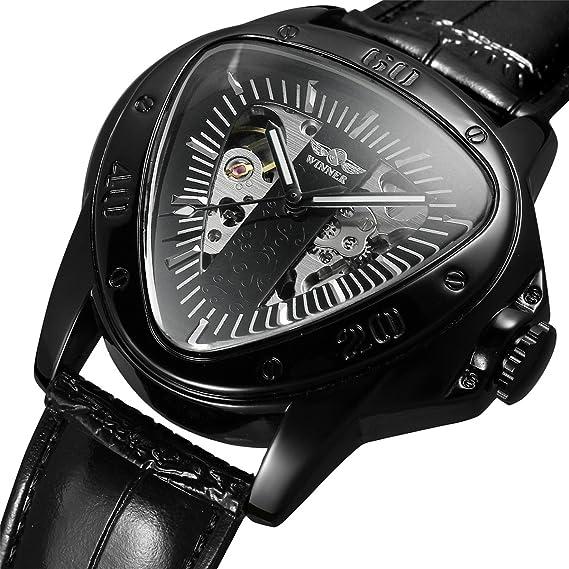 Winner Watch - Reloj de pulsera para hombre, correa de piel auténtica, diseño geométrico