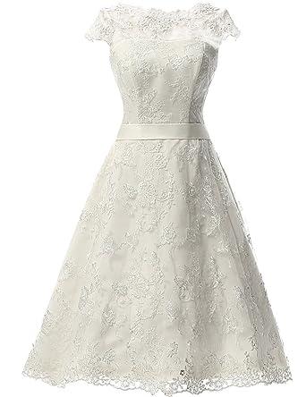 JAEDEN Womens Vintage Lace Wedding Dress Short Bridal Gown Dresses With Sash Ivory US2