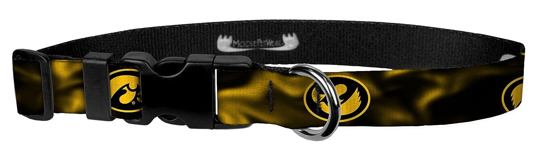 Moose Pet Wear Dog Collar – University Iowa Hawkeyes Adjustable Pet Collars, Made in The USA – 1 inch Wide Medium Gold Smoke Hawk ACDL34-M-IOW260