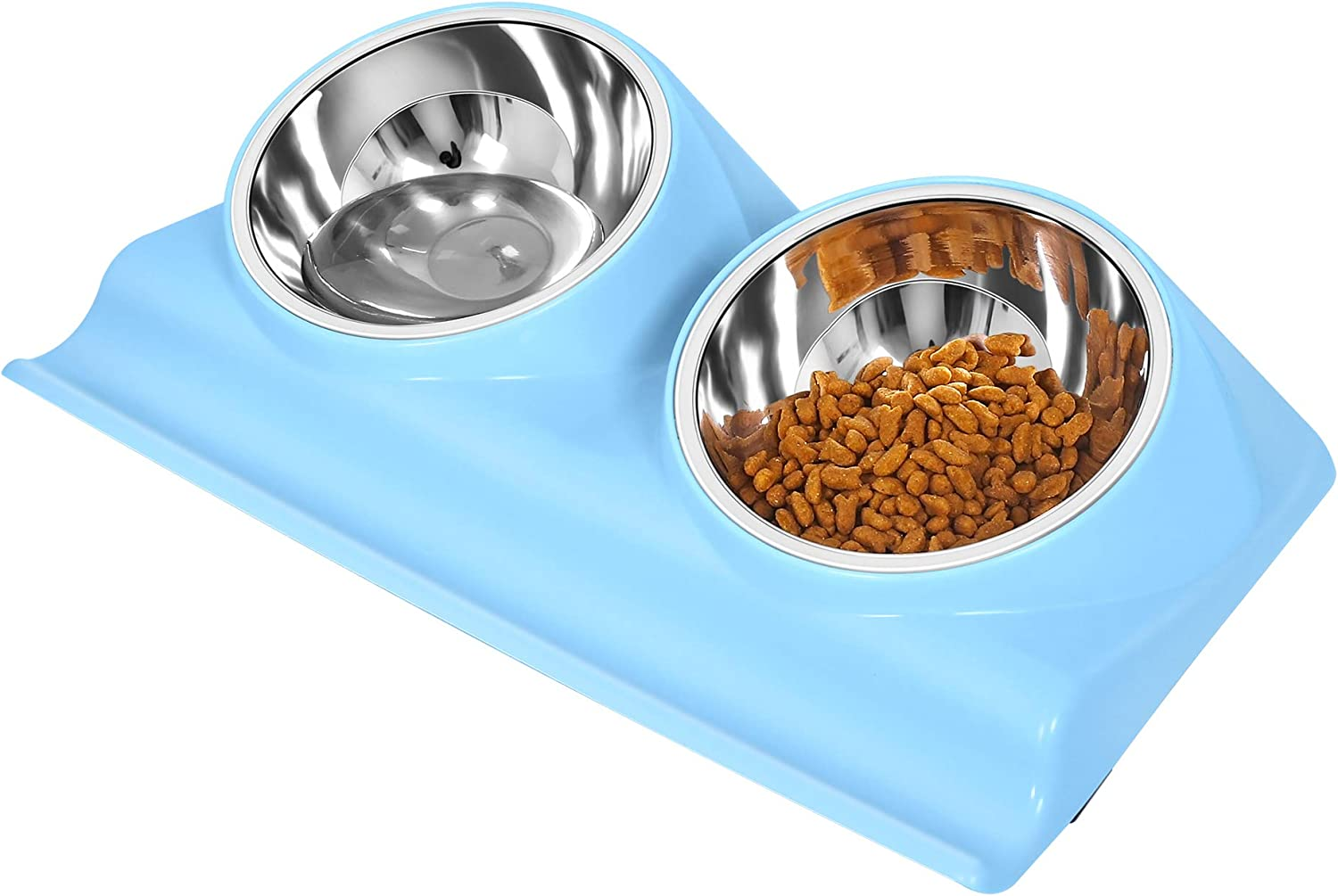 UPSKY Dog Cat Bowls Double Raised Pet Bowls, Elevated Cat Bowls, with Anti-Slip Resin Station, Stainless Steel Pet Feeder Bowls for All Small to Large Cats