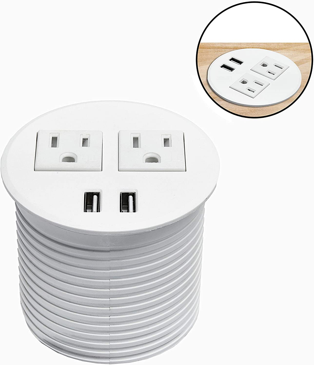 BTU Desktop Power Grommet, Desk Power Outlet Socket Recessed Power Strip with 2 Power Socket & 2 USB Ports & 6ft Extension Cords for Computer, Table, Kitchen, Office, Home, Hotel and More (White)