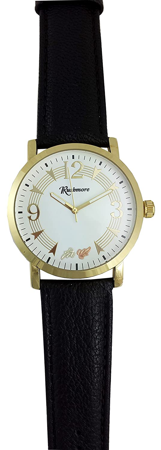 Amazon.com: Mens Black Hills Gold Watch 12K Gold Leaves Black Leather Band Music Staff: Watches