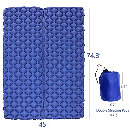 Inflatable Sleeping Pad – Camping Sleeping Pad, Ultralight Air Sleeping Pad for Double Single Inflatable Camping Mat, Lightweight Folding Air Mattress for Camping, Traveling, Hiking and Backpacking