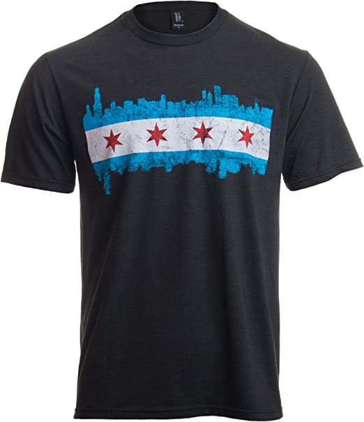 0d6fcb97 Chicago City Flag Skyline | Vintage Retro-Feel Triblend T-Shirt for Men or