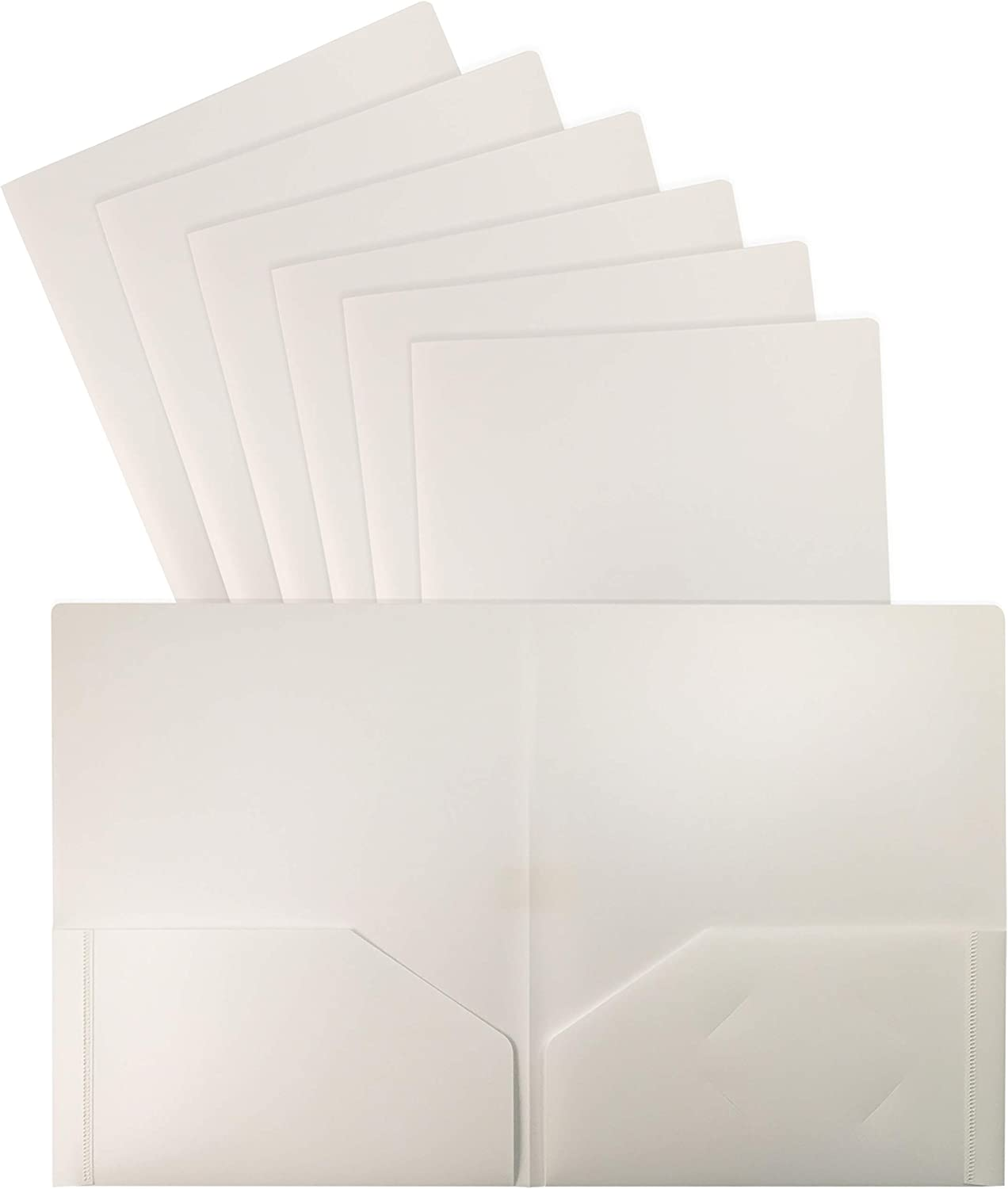 Heavyweight White Plastic 2 Pocket Portfolio Folder, 24 Pack, Letter Size Poly Folders by Better Office Products, 24 Pack, White