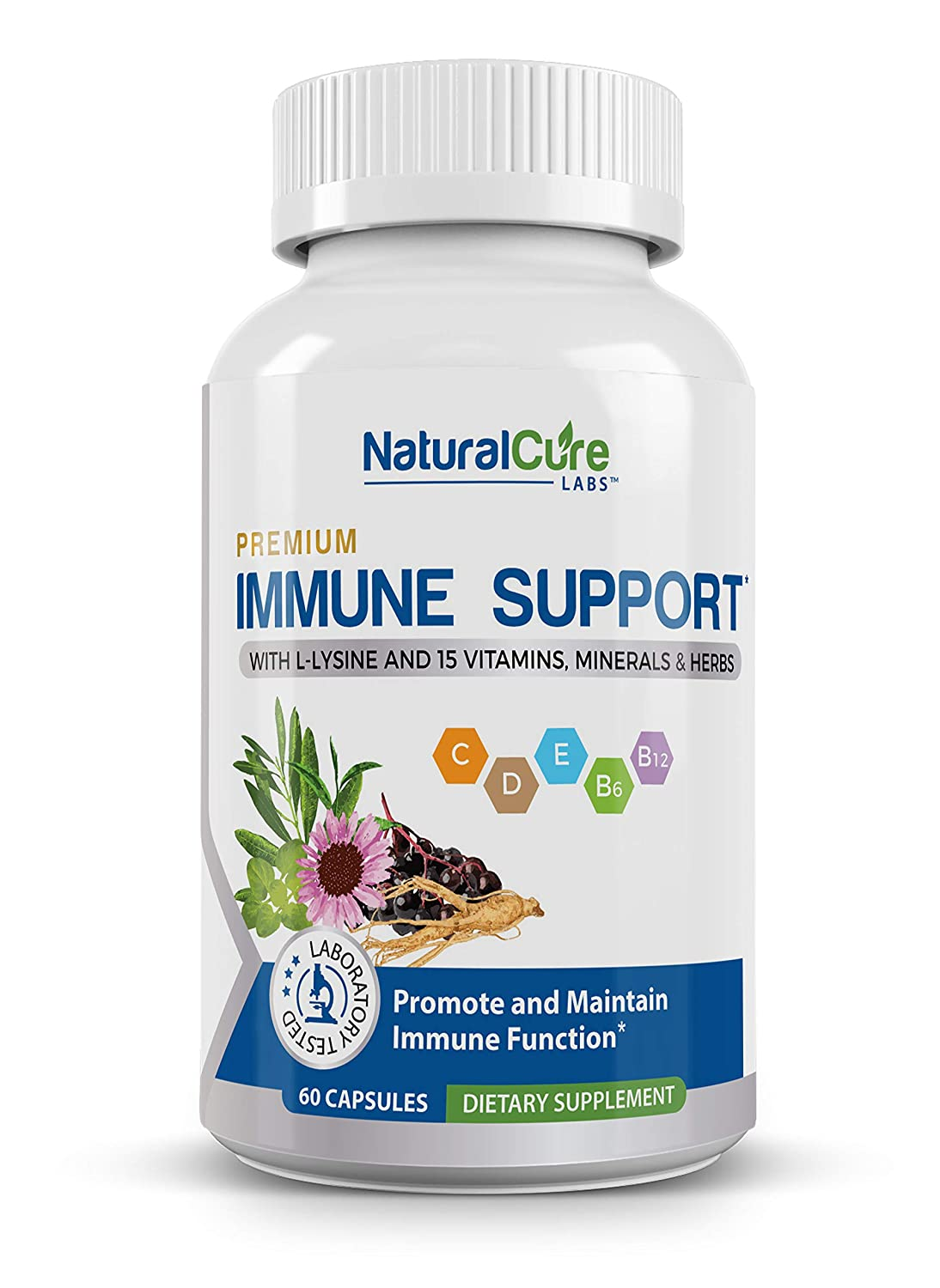 Premium Immune Support  #1 Researched Natural Antiviral, Antibacterial  Formula 60 Count